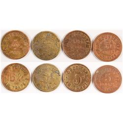 Four Different Tonopah, Nevada Tokens