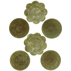 Three Tonopah, Nevada Bakery Tokens