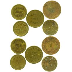 Five Northern Nevada Tokens (Carson City & Gardnerville)