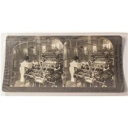 Stereoview of US Currency Printing & Cutting