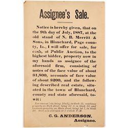 1887 Broadside Re: Sale of Bank Notes