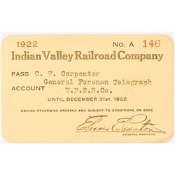 Indian Valley Railroad Co. Pass, 1922