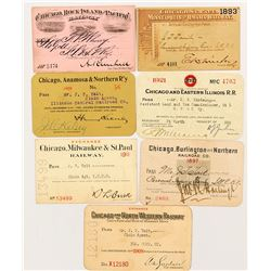 Chicago Railroad Passes - Seven Different