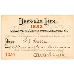 Vandalia Line, Terre Haute & Indianapolis Railroad Co. Pass, 1882