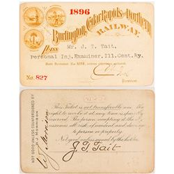 Burlington, Cedar Rapids & Northern Railway 1896 Pass