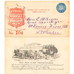 Kansas and Nebraska Stage & Omnibus Company 1884 Pass