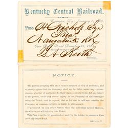 Kentucky Central Railroad 1865 Pass