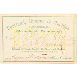 Portland, Bangor & Machias Steamboat Co. Pass, 1872