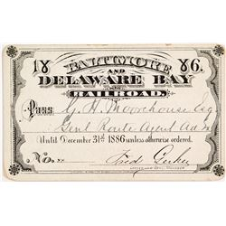 Baltimore & Delaware Bay Railroad 1886 Pass