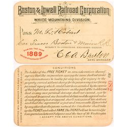 Boston & Lowell Railroad Corporation 1889 Pass