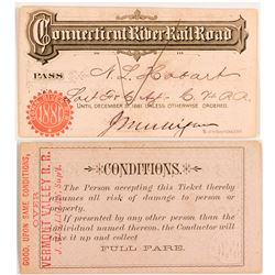 Connecticut River Railroad 1881 Pass