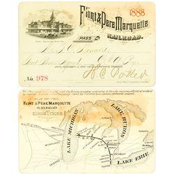 Flint & Pere Marquette Railroad Pass, 1888