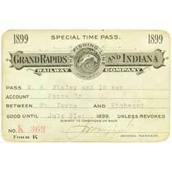 Grand Rapids & Indiana Railway 1899 Pass