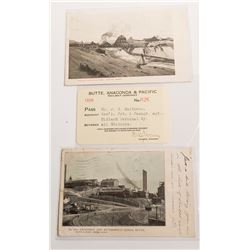Two Rare Old Montana Railroad Postcards and One Montana Railroad Pass