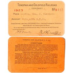 Tonopah & Goldfield Railroad Co. Pass (1923)