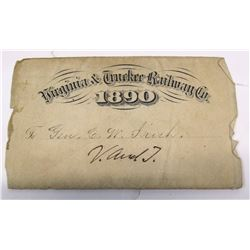 Virginia & Truckee Railway Company Pass, 1890
