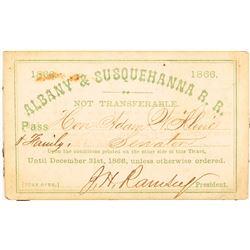 Albany & Susquehanna Railroad 1866 Pass