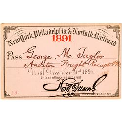 New York, Philadelphia & Norfolk Railroad 1891 Pass