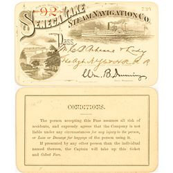 Seneca Lake Steam Navigation Company Pass with Two Nice Vignettes, 1892