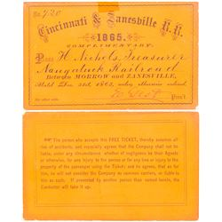 Bright Orange Cincinnati & Zanesville Railroad Pass, 1865