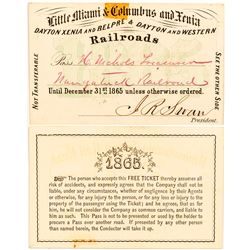 Little Miami & Columbus and Xenia Railroad 1865 Pass