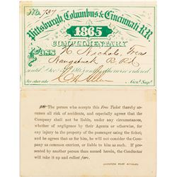 Pittsburgh, Columbus & Cincinnati Railroad Complimentary Pass, 1865