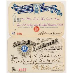"Two ""St Louis"" Railroad Passes (1886 & 1889)"