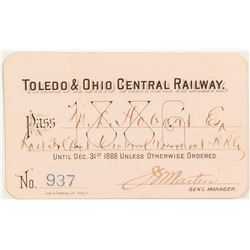 Toledo & Ohio Central Railway 1886 Pass