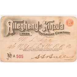 Allegheny & Kinzua Railroad 1892 Pass