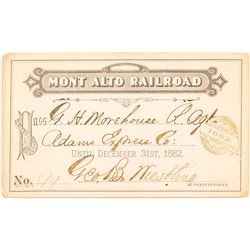 Mont Alto Railroad 1882 Pass