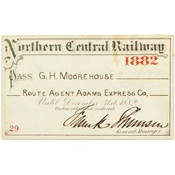Northern Central Railway 1882 Pass