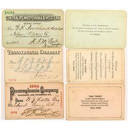 Three Pennsylvania Company 1880's Railroad Passes