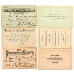 Three Pennsylvania Company 1880's Railroad Passes