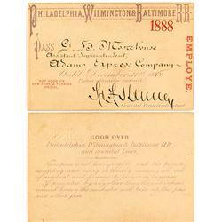 Philadelphia, Wilmington & Baltimore 1888 Railroad Pass