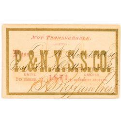 Providence & New York Steamship Company Pass, 1871