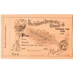 Fort Worth & Denver City Railway Company Exchange Trip Pass, 1898