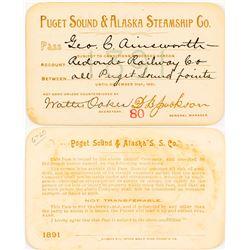 Puget Sound & Alaska Steamship Company Pass, 1891