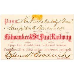 Milwaukee & St. Paul Railway Pass, 1865