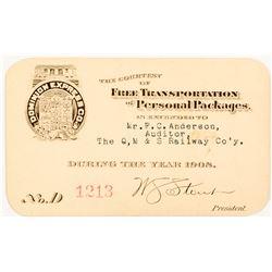 Dominion Express Company 1908 Pass