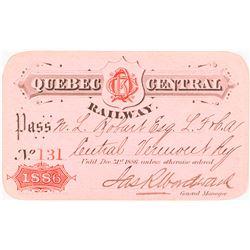 Quebec Central Railway 1886 Pass