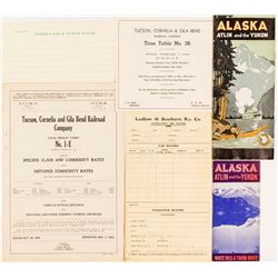 Alaska/Yukon and Arizona Railroad & Travel Ephemera