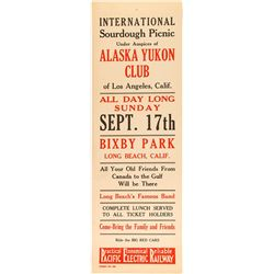 Alaska Yukon Club Broadside for International Sourdough Picnic (Pacific Electric Railway)