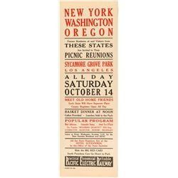 New York, Washington Oregon Picnic Reunion Broadside(Pacific Electric Railway)