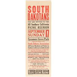 South Dakota Picnic Reunion Broadside (Pacific Electric Railway)