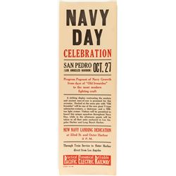 Navy Day Celebration Broadside (Pacific Electric Railway)