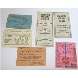 Ephemera from 3 Different Sacramento Area Railroads