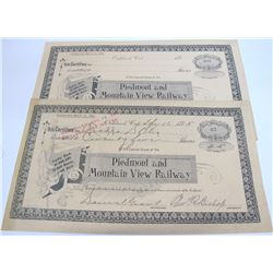 Piedmont and Mountain View Railways Stocks (2)