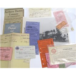 Northern California Misc. Railroad Ephemera