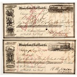 Illinois Central Rail Road Pair of Checks