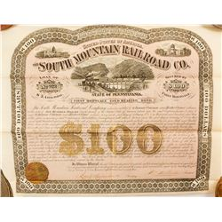 South Mountain Railroad Co. Bond, 1873